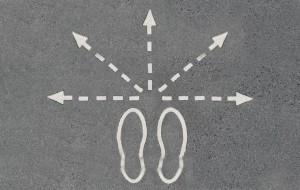 Feet and arrows going multiple directions
